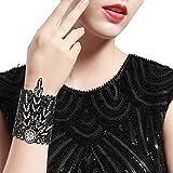 BABEYOND 1920s Flapper Bracelet Great Gatsby Leaf Pattern Roaring 20s Accessories Bracelet Jewelry (Black)