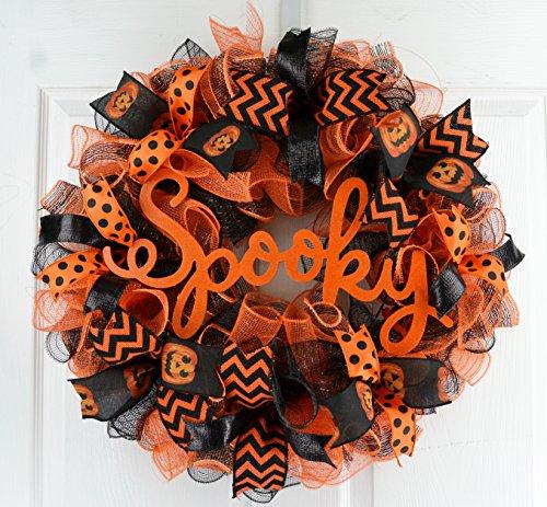 Spooky Mesh Halloween Wreath | Pumpkin Mesh Outdoor Front Door Wreath | Orange Black -