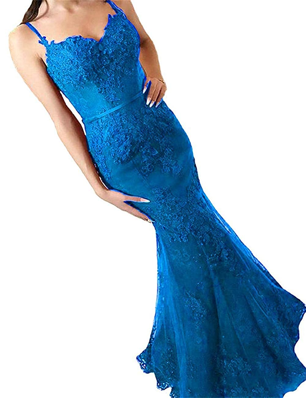 bluee Sophie Women's Mermaid Full Lace Prom Dresses Spaghetti Straps Long Formal Evening Dress S164