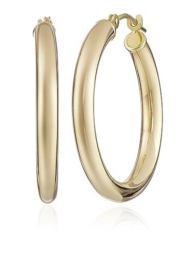 Amazoncom 14k Yellow Gold Hoop Earrings 1 Diameter Jewelry