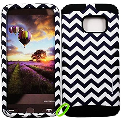 Samsung Galaxy S7 Cellphone Trendz HARD & SOFT RUBBER HYBRID ROCKER HIGH IMPACT PROTECTIVE COVER - Black And White Chevron on Black Sales