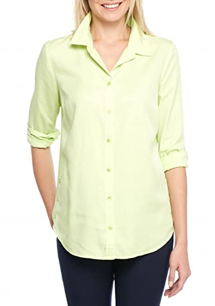 1a00576f Crown & Ivy Women's Button-Down Shirt (Lite Green, X-Small) at Amazon Women's  Clothing store: