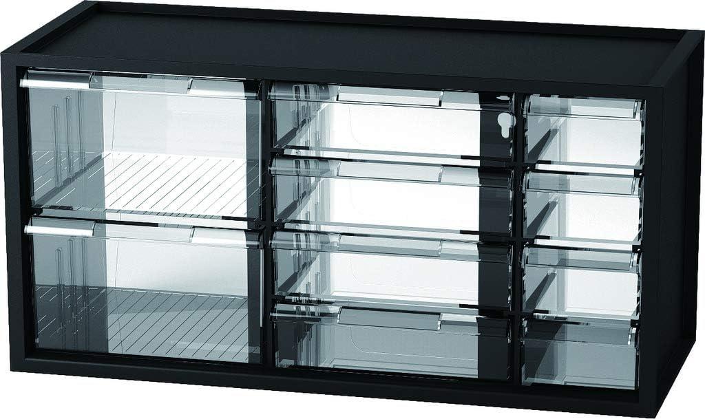 livinbox 10 Drawer Plastic Parts Storage Hardware and Craft Cabinet, Desktop Hardware Storage Organizer Multi Use Compartment Container– Black, A9-5244, 14.9 x 6.1 x 7.4 Inch