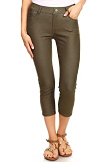 d8f40db2f0844c ICONOFLASH Women's 5 Pocket Capri Jeggings - Pull On Skinny Stretch Colored Jean  Leggings with Plus