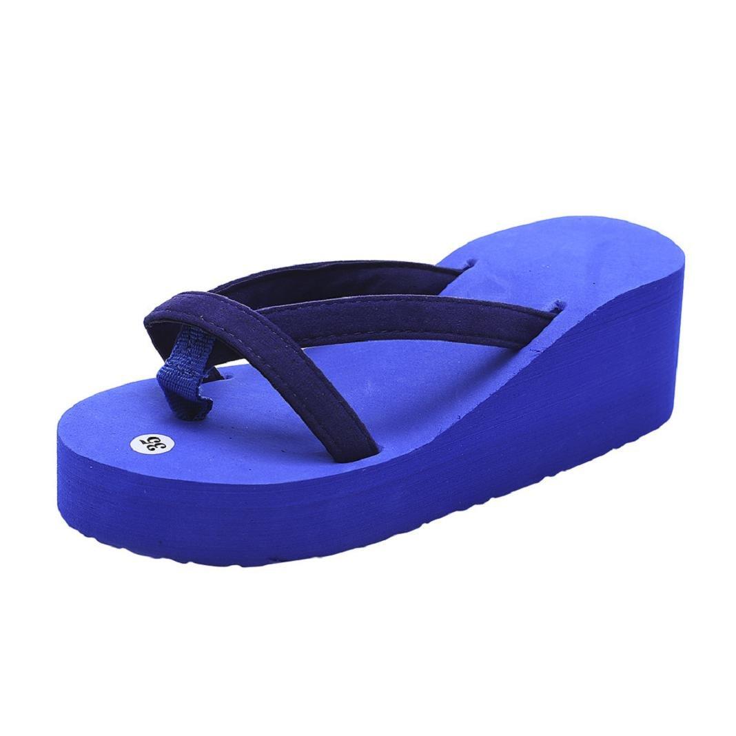 ShenPr Summer Women's Casual Solid Flip Flops Bandage Open Toe Slipper Beach Wedge Thick Sole Heeled Shoes (Blue, 5)