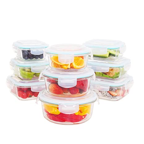 Beau Glass Food Storage Container Set 18 Pieces(9 Containers+9 Lids)Glass
