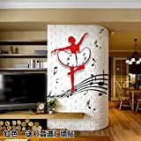 BABYQUEEN European Creative Silence Dance Music Wallclock Bedroom Living Room Simple Personality Art Decorative Clock Red Ballet Send?Sound Spectrum?Wall Stickers