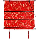 4 feet roman shades - Oriental Furniture Shang Hai Tan Blinds - Red - (36 in. x 72 in.)