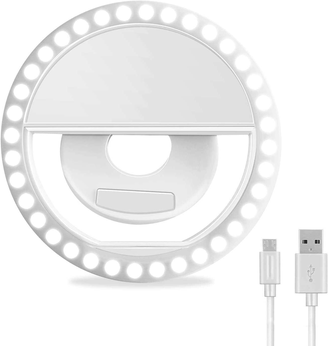 Selfie Ring Light, XINBAOHONG Rechargeable Portable Clip-on Selfie Fill Light with 36 LED for iPhone/Android Smart Phone Photography, Camera Video, Girl Makes up (White)