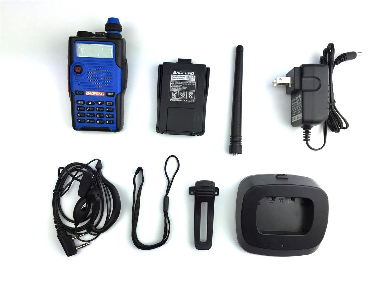 Baofeng UV-5R 5th Generation 136-174/400-520mHZ Two Way Radio Professional FM Transceiver(Blue,Pack of 4)