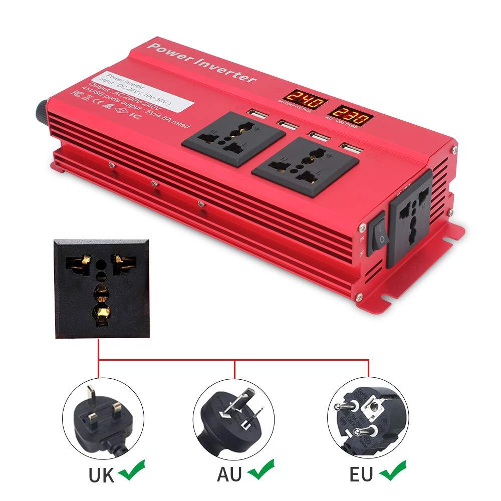 Cantonape Power Inverter 800W//2000W di Picco DC 24V a AC 230V 240V Convertitore Auto 24V Inverter con 4 USB 3 Prese universali accendisigari Adattatore in Auto Coccodrillo Clip