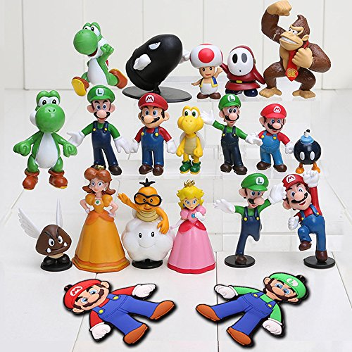 Mario Brothers Action Figures Set (18 Piece) and Keychains (2 Piece), by WanPro