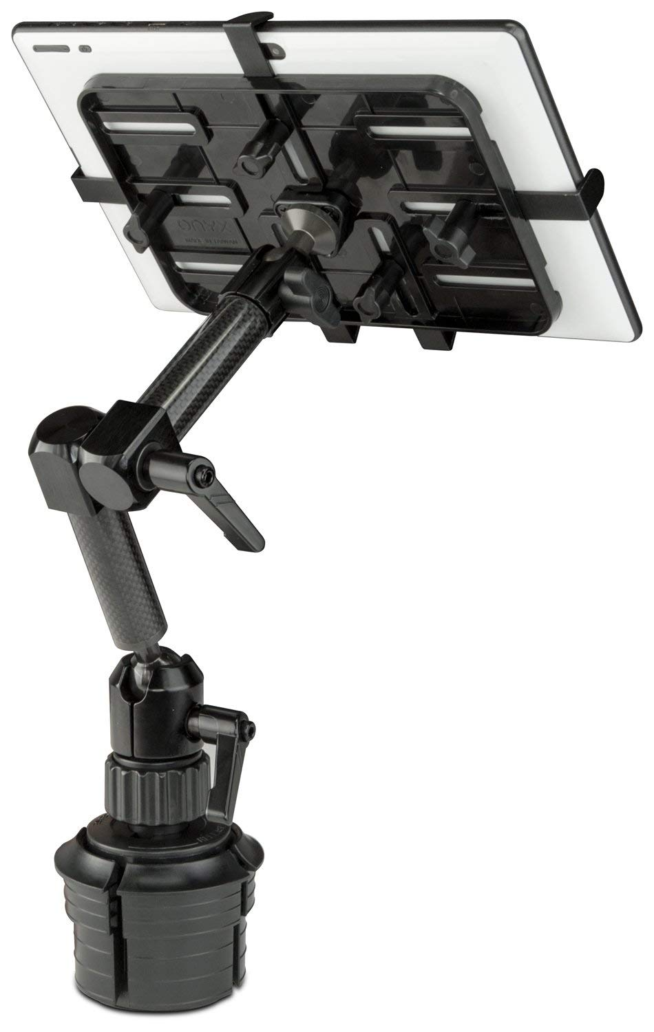 """Mount-It! Car Cup Holder Tablet Mount, Universal Full Motion Car Mount for iPad Pro/Mini/Air, Amazon Fire, Samsung Galaxy, Including 7"""" to 11"""" Android Tablets up to 3.3lbs, Carbon Fiber"""