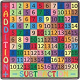 Flagship Carpets FE103-14A Addition and Subtraction Rug, Incorporates Movement and Fun Into Math Exploration, Children's Classroom Educational Carpet, 4' x 4', 48'' Length, 483'' Width, Multi-Color