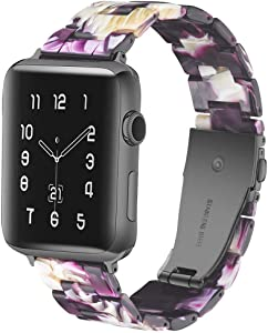 CAUNEDY Resin Watch Band for 38mm 40mm Apple Watch Series 5 4 3 2 1 with Stainless Steel Buckles Fashion Lightweight Sport Smart Watch Wristband Strap for Men Women(38/40mm,Marble Purple)