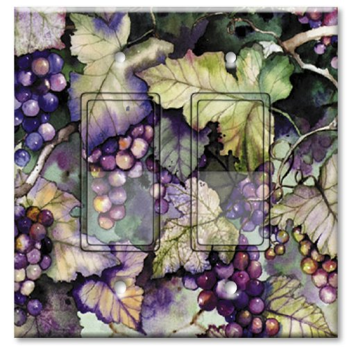 (Printed Decora Rocker Style Double Switch with matching Wall Plate - Grapes and Leaves)