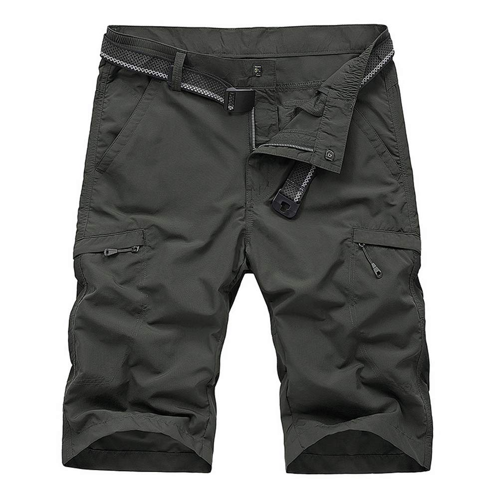 OCHENTA Men's Outdoor Expandable Waist Lightweight Quick Dry Shorts Dark Grey Tag 36- US 34