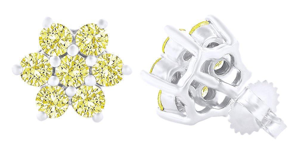 Rundschliff Gelb Natur Diamant Ohrstecker in 14 ct 585 Massiv Weißszlig; Gold 14 Karat (585) WeißGold