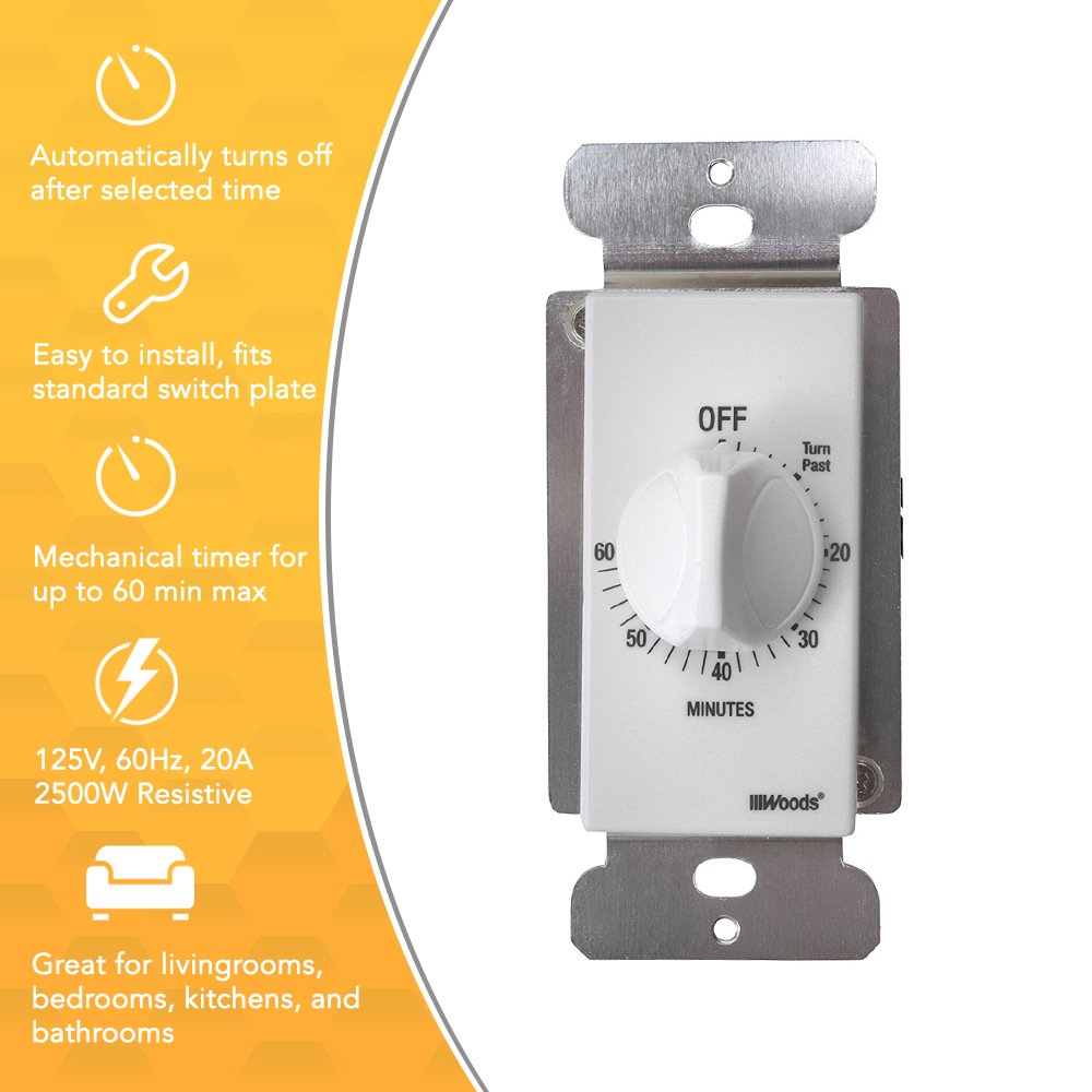 Woods 59717WD 60-Minute Decora Style Timer Mechanical Wall Switch (White) by Woods (Image #3)