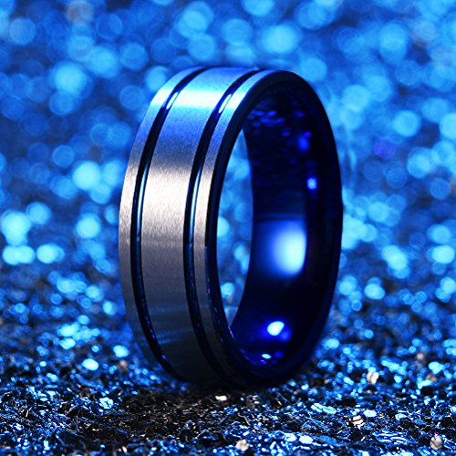 Three Keys Jewelry 8mm Mens Tungsten Wedding Ring Blue Double Grooved Wedding Band Engagement Ring