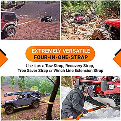 ORCISH 66ft X 2In Tree Saver Recovery Tow Strap Winch Strap17600lb Capacity: Automotive
