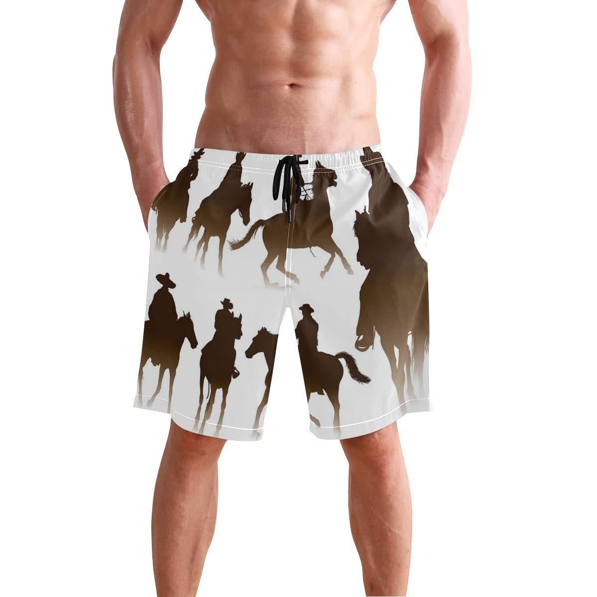 COVASA Mens Summer ShortsCollection of Horseback Riding Silhouettes Bridle Ran