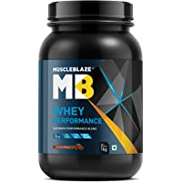 MuscleBlaze Whey Protein Performance (1 Kg / 2.2 lb, Chocolate), 25 gm protein, 5.5 gm BCAA, 4,4 gm Glutamic Acid, with added vitamins
