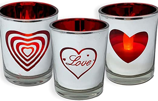 LOVE HEART TEA LIGHT CANDLE HOLDER SILVER PORCELAIN HOME DECOR VALENTINES GIFT