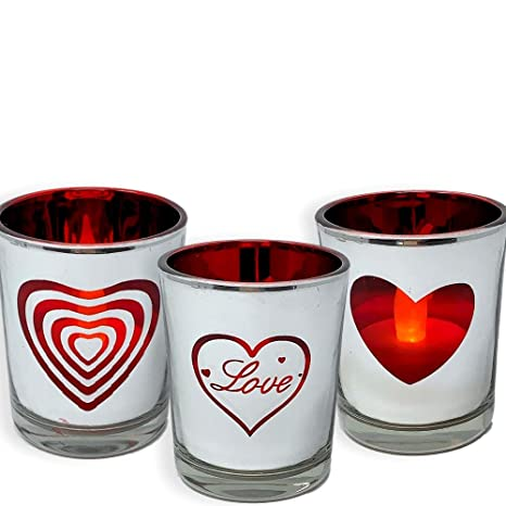 BANBERRY DESIGNS Heart and Love Candles - Set of 3 Silver Metallic Votive  Candle Holders - 3 White Flameless Tealights Included-Love Hearts-