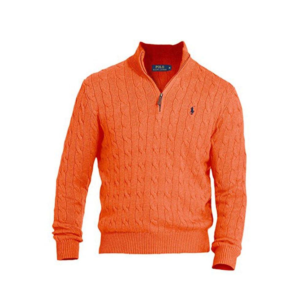 Polo Ralph Lauren Men's Cable-Knit Mock Neck Sweater, XL, Orange
