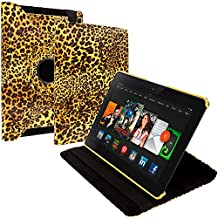 Cell Accessories For Less (TM) Yellow Leopard 360 Rotating Leather Pouch Case Cover Stand for Amazon Kindle Fire HDX 8.9 Bundle (Stylus & Micro Cleaning Cloth) - By TheTargetBuys