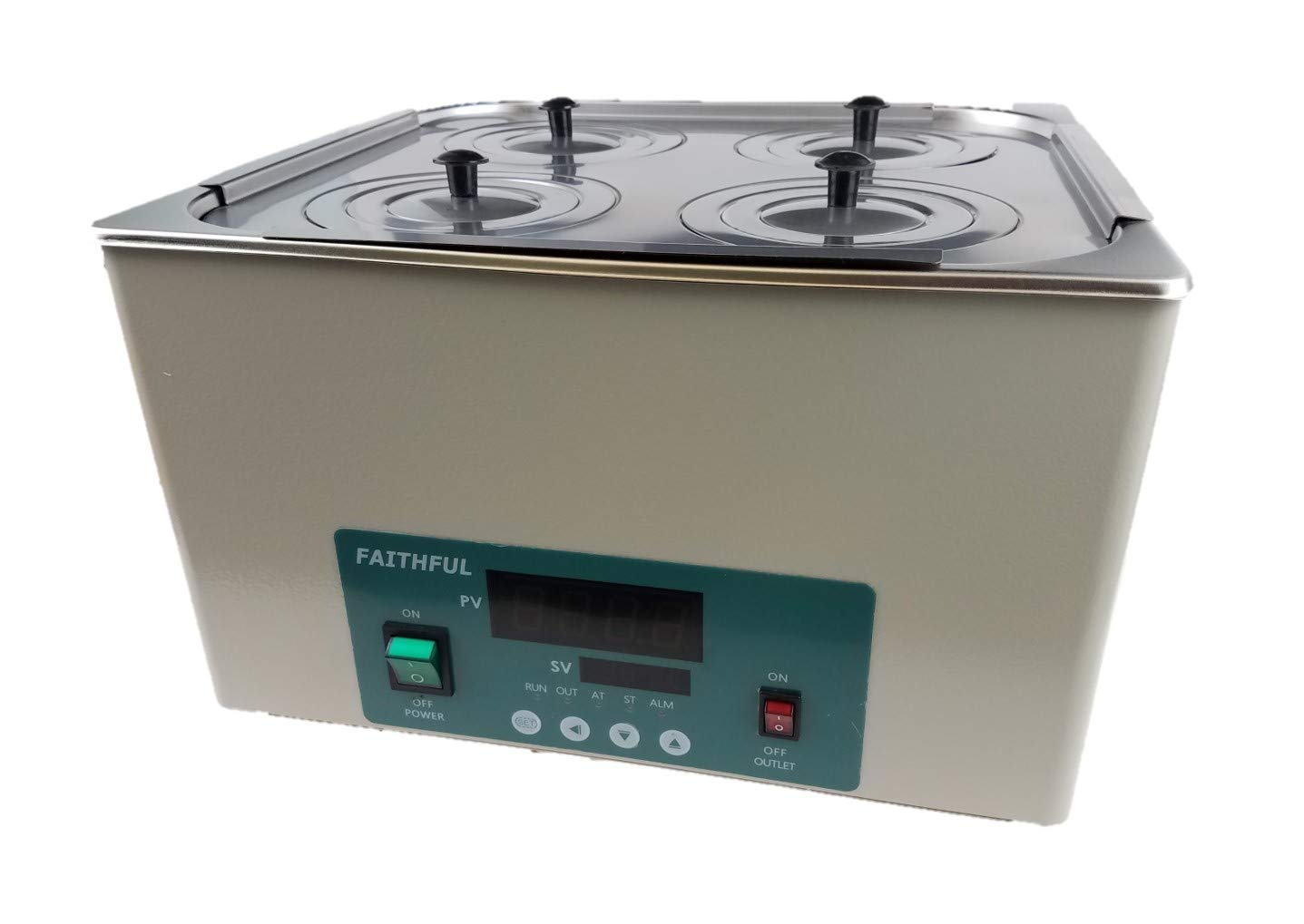 Digital Thermostatic Water Bath, 1 Chamber with 4 Openings, 12 L Capacity, 110V