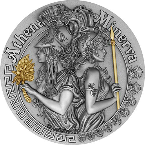 (2019 NU Strong And Beautiful Goddesses PowerCoin ATHENA AND MINERVA 2 Oz Silver Coin 5$ Niue 2019 Antique Finish)