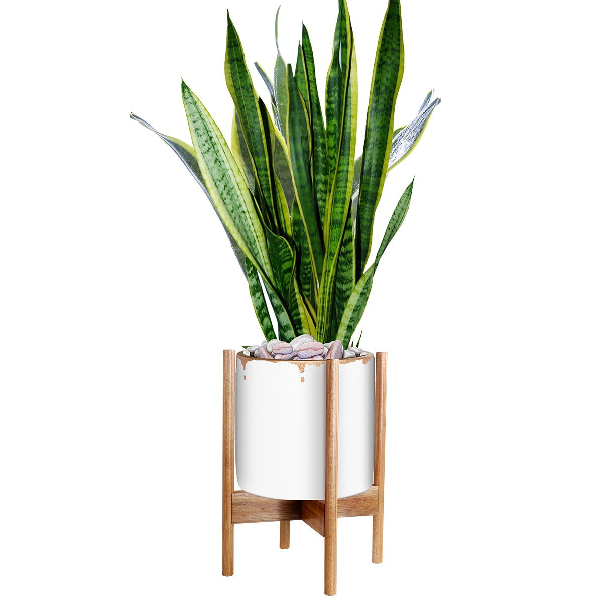 Indoor Plant Stand - Indoor Planter Width 11'' - Acacia Wood - Excluding White Ceramic Planter Pot