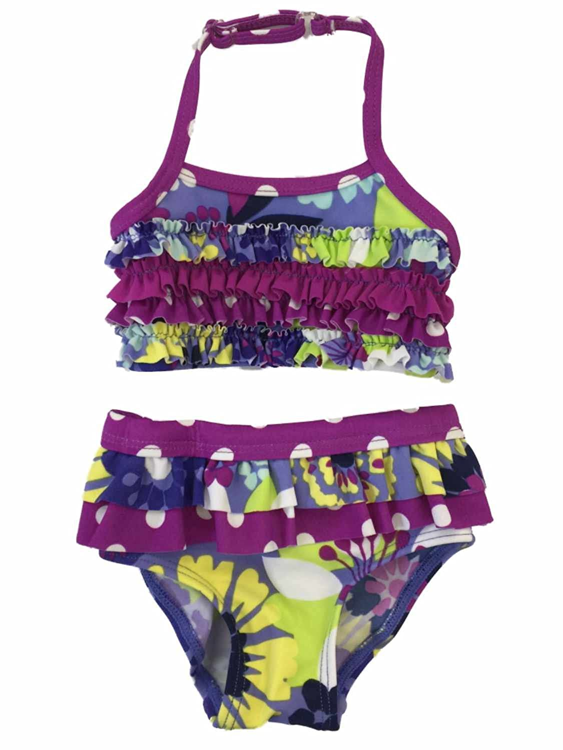 Infant Girls Purple Floral Ruched 2 Piece Bikini Swimming /& Bathing Suit Newborn