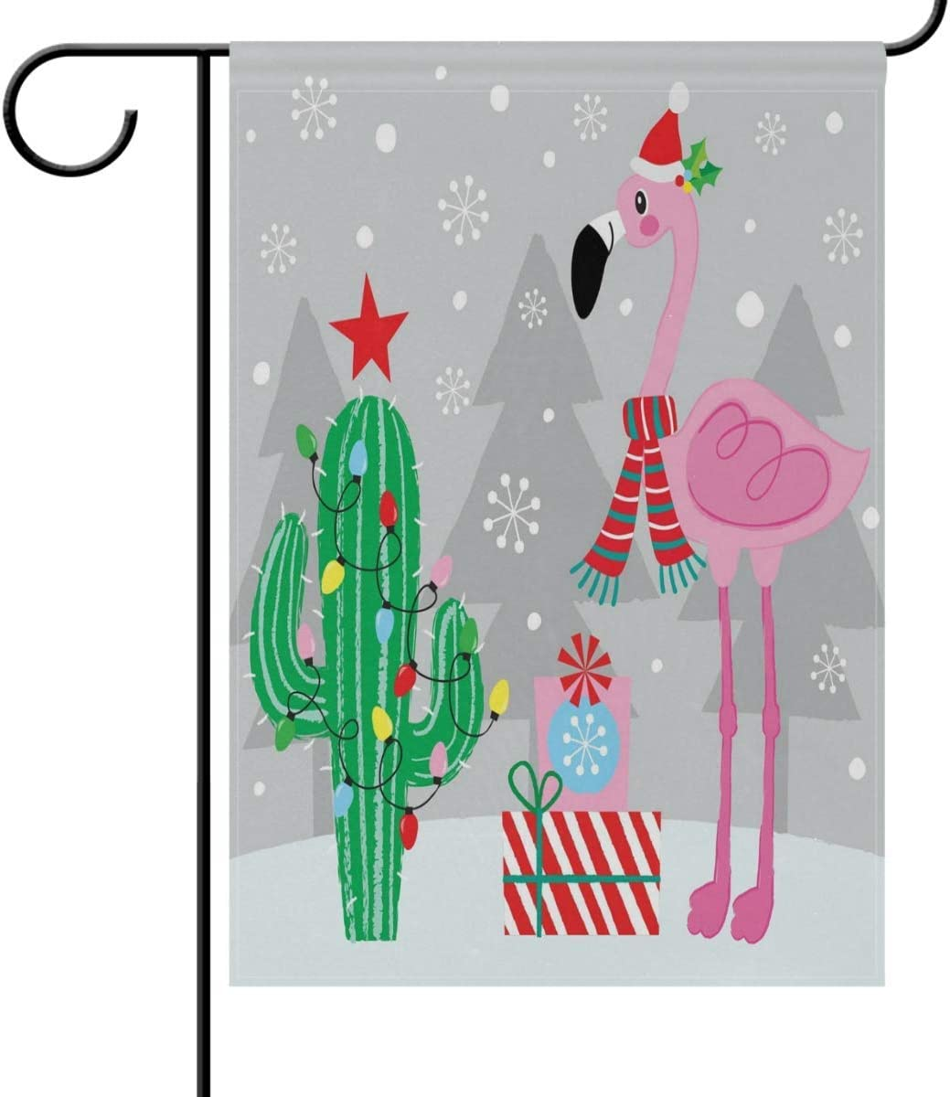 N\ A Garden Flag 28x40 Double Sided Christmas Flamingo Cactus Winter Snowflake Gift Decorative House Yard Flags for Outside Outdoor Welcome Home Decor Banner Large Size 28 x 40 inches