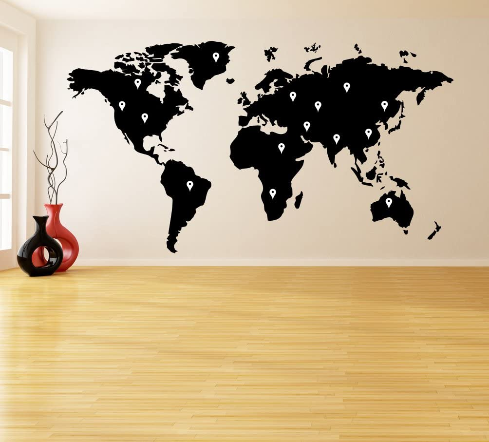 ( 94'' x 52'') Vinyl Wall Decal World Map with Google Dots / Earth Atlas Shiluette Art Decor Sticker / Removable DIY Home Mural + Free Random Decal Gift