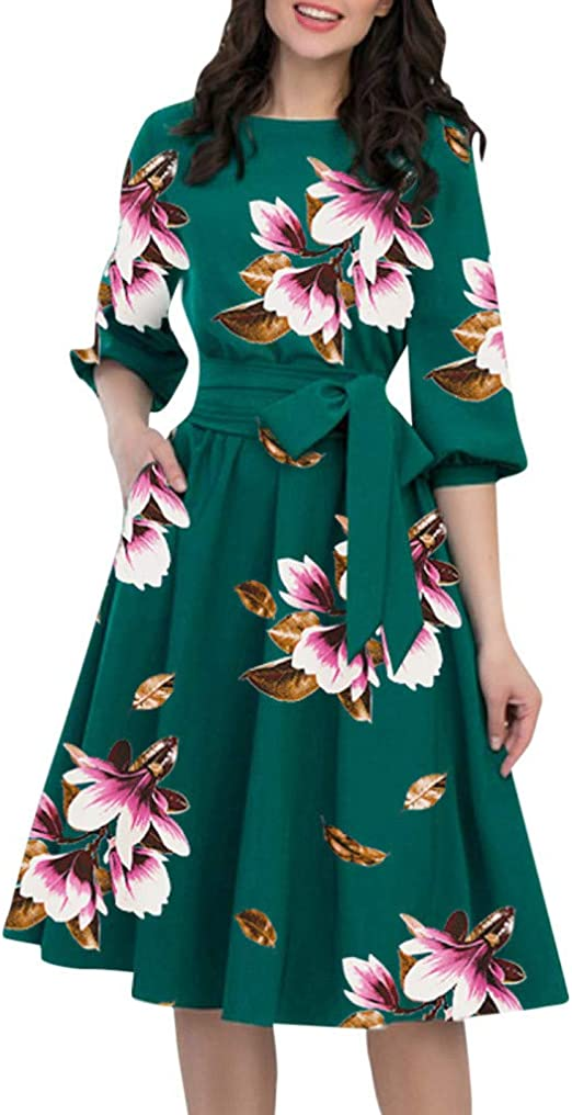 Pervobs Women Elegant A-Line Dresses Summer Half Sleeve O-Neck Pocket Casual Loose Knee-Length Party Dress with Belt