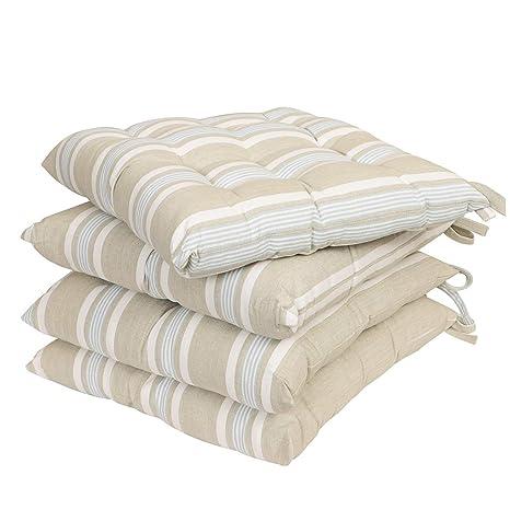 Dibor - 4 Cojines de algodón Reversibles para Silla con Lazos ...