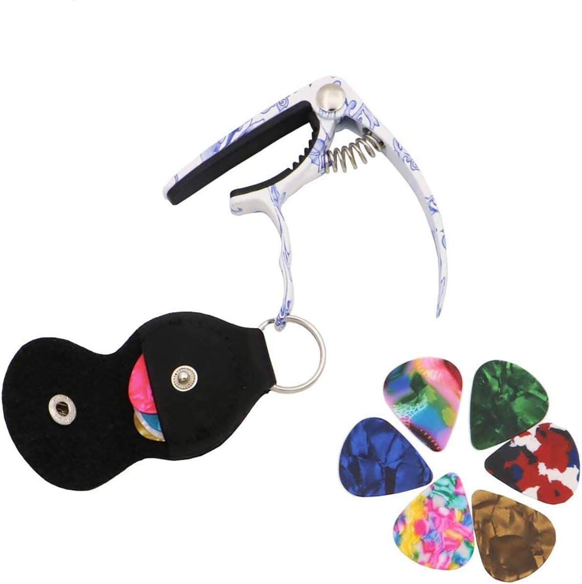 Blue and white porcelain Guitar Capo,Leather pick bag,alloy guitar Diacritical clip for acoustic guitar ukulele electric guitar acoustic guitar picks