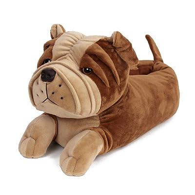 Bulldog Slippers - Plush Dog Animal Slippers Brown | Slippers