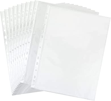 TYH Supplies 50-Pack Economy 11 Hole Clear Sheet Protectors 8-1//2 x 11 Inch Non Vinyl Acid Free