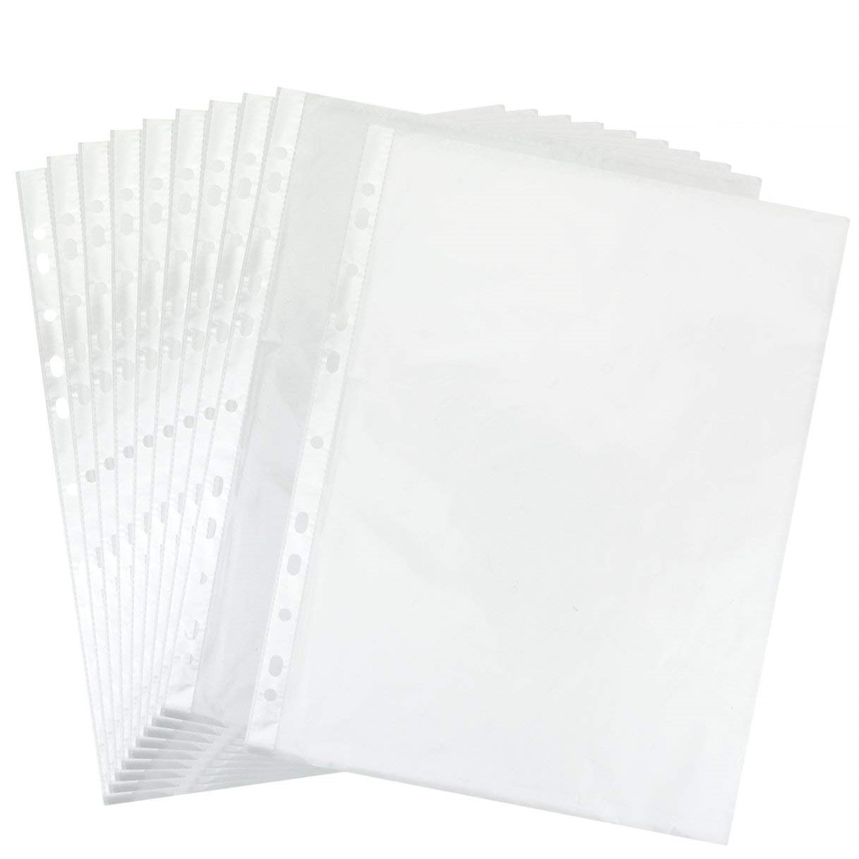 cnomg 11 Hole Clear Sheet Protectors, Office Buff Paper File Folders 8.3'' x 11.7'' Non Vinyl Acid Free Suppliers Pack of 200 Pcs Erase Durable Plastic Dividers