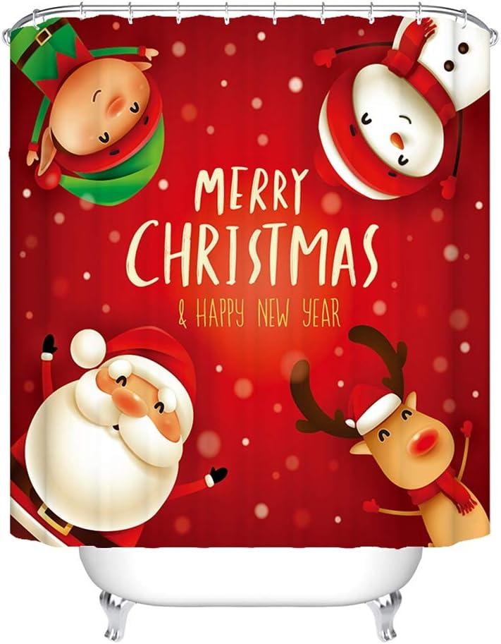 Christmas Bathroom Decorations with 12 Hooks Rudolph Santa Claus Snowman Dwarf Custom Bathroom Decor 71x71in Waterproof Shower Curtain Red Christmas Shower Curtain