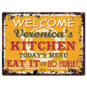 Amazon Com Welcome Veronica S Kitchen Chic Tin Sign Vintage