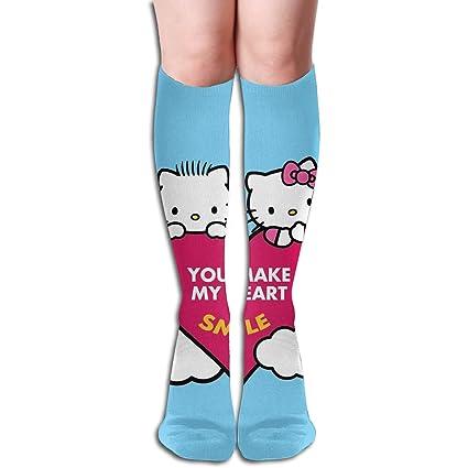 50974ed5d Amazon.com: JINUNNU Knee High Tube Socks Hello Kitty You Make My ...
