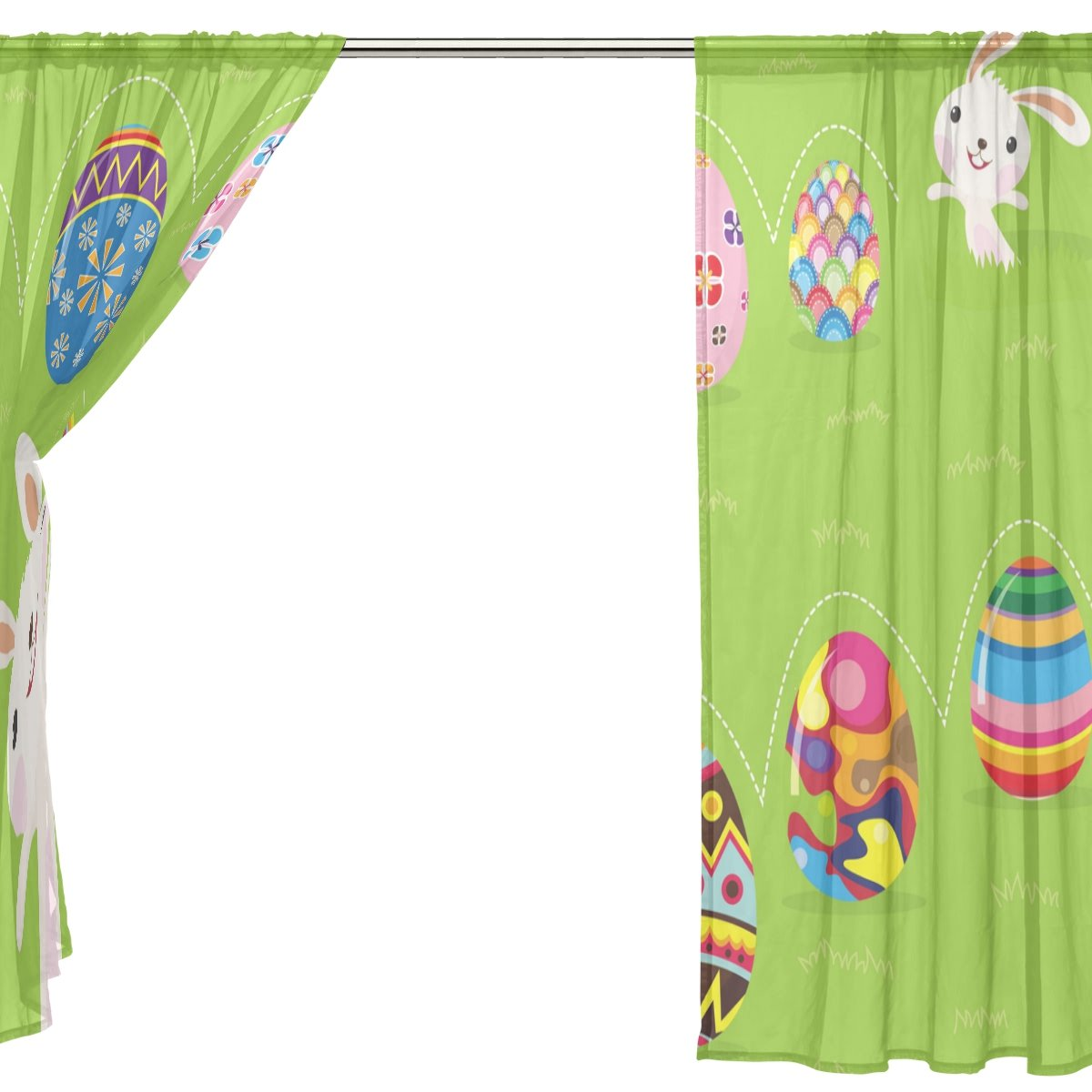 SEULIFE Window Sheer Curtain Easter Bunny Rabbit Eggs Flower Voile Curtain Drapes for Door Kitchen Living Room Bedroom 55x78 inches 2 Panels