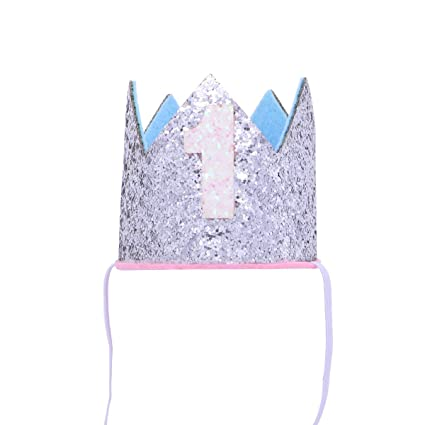 Amazon BESTOYARD Baby Boy Girl First 1st Birthday Party Hat Princess Prince Crown One Year Old Glitter Hair Accessory Headband Silver Toys Games