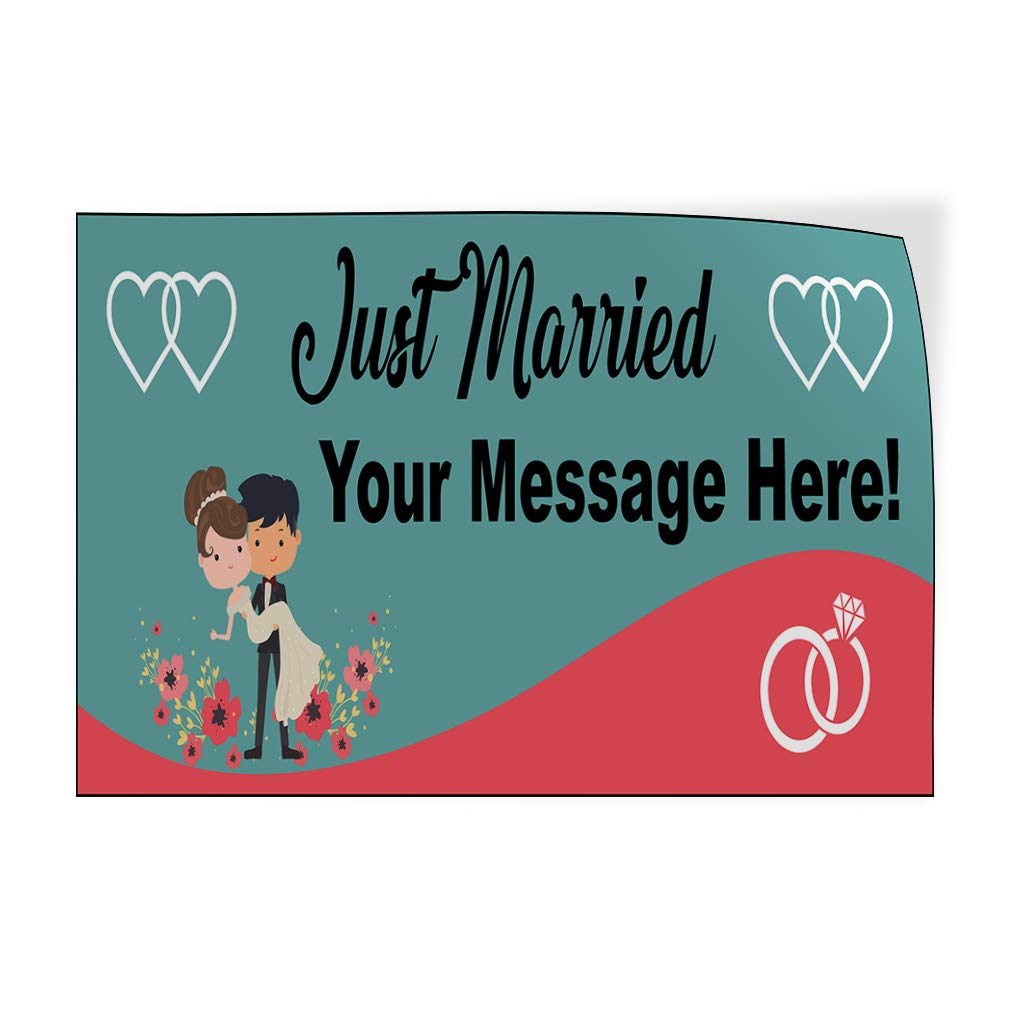Custom Door Decals Vinyl Stickers Multiple Sizes Just Married Your Message Here Lifestyle Just Married Outdoor Luggage /& Bumper Stickers for Cars Blue 30X20Inches Set of 10