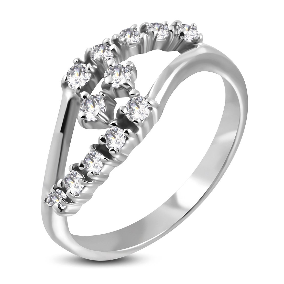 Stainless Steel Attractive Journey Split Shank Bypass Ring with Clear CZ